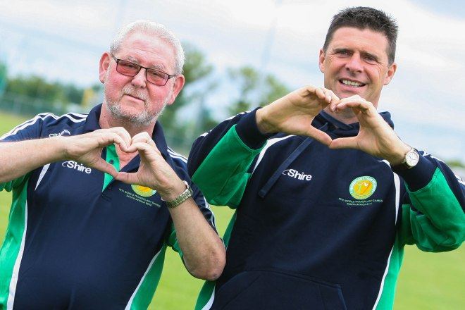 Heart transplant recipient Seamus Eager (Wicklow) with Niall Quinn.