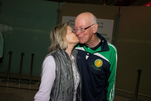 A kiss for John McAleer, oldest member of Transplant Team Ireland from his wife Bridget