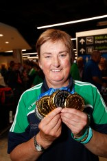 *** NO REPRODUCTION FEE *** DUBLIN : 17/7/2016 : A large gathering of family, friends and supporters armed with flags and banners greeted Transplant Team Ireland when they arrived into Dublin airport after competing in the 9th European Transplant & Dialysis Sports Championships in Vantaa, Finland. They brought with them a large haul of medals including 21 Gold, 19 Silver and 29 Bronze. This placed Ireland's 28 strong team in fifth position on the medals table with host country Finland, and a much larger team of 96 athletes, taking top position out of 24 competing countries. In second place was Hungary, followed by Great Britain and then Germany. Transplant Team Ireland is managed by the Irish Kidney Association. Pictured was Transplant Team Ireland's Marie O'Connor (kidney transplant recipient) from Lahinch Co Clare. Picture Conor McCabe Photography. MEDIA CONTACT : Gwen O'Donoghue, Connect Communications, mob. 086 8241447 email. gwenodonoghue1@gmail.com