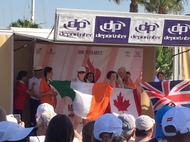 Sinead McGowan after winning the first medal or the Transplant Team Ireland - a silver in the 5km road race at the WTG Malaga
