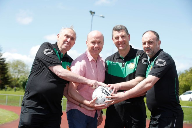 Charlie Ryan with Peter Canavan, Mike Keohane and Pat O'Sullivan